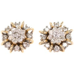 1950s 1 Carat Total Diamond Earrings with Jackets