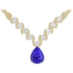 4.72 Carat Pear Shaped Tanzanite and White Diamond Necklace