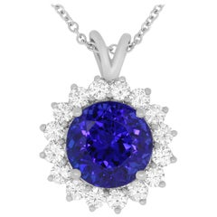 7.82 Carat Round Tanzanite and White Diamond Flower Shaped Pendant