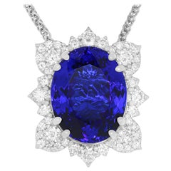 17.02 Carat Oval Shaped Tanzanite and White Diamond Burst Pendant