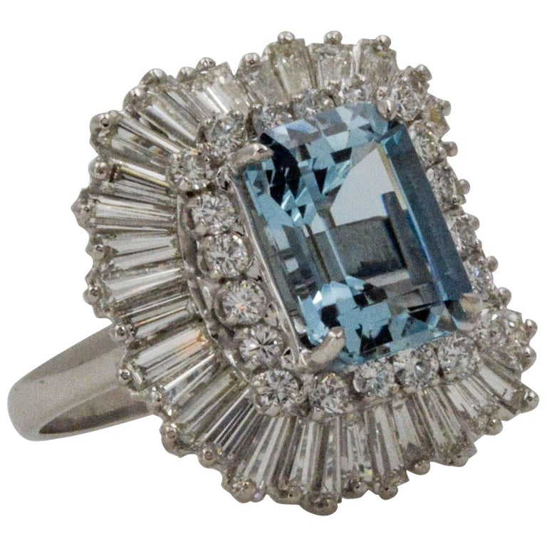 4.51 Carat Aquamarine 3.75 Carat Diamond Ballerina Cocktail Ring/Pendant