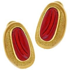 Burle Marx Forma Livre Pink Tourmaline Carved Earrings