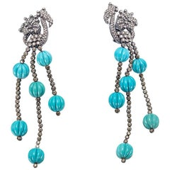 Lygia Demades Turquoise and Cognac Diamond Gold Long Drop Earrings