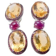 Citrine and Ruby 18 Karat Gold Drop Earrings