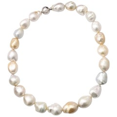 Golden and White Cultured Baroque South Sea Pearl Steel Necklace