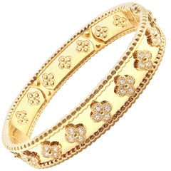 Van Cleef & Arpels Perlée Diamond Clover Yellow Gold Bangle Bracelet