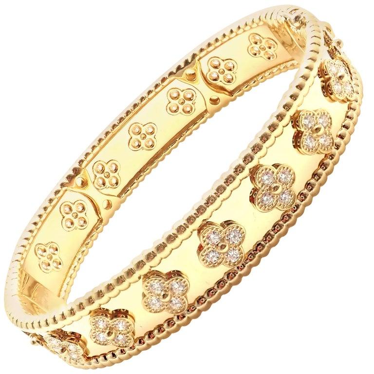 Van Cleef & Arpels Perlée Diamond Clover Yellow Gold Bangle Bracelet