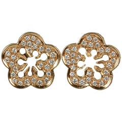 Boodles 18 Carat Rose Gold and Diamond Blossom Cluster Stud Earrings