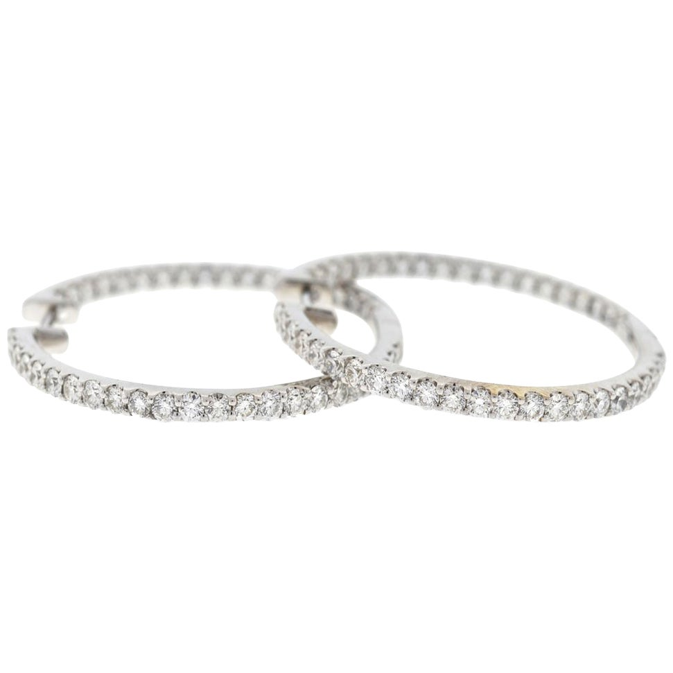 14 Karat White Gold Inside Out Diamond Hoop Earrings