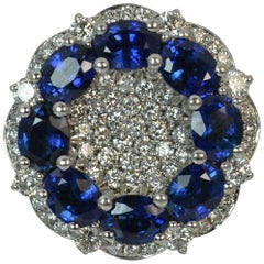 2.46 Carat Sapphire VS Diamond 18 Carat White Gold Cluster Ring