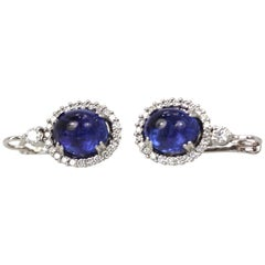 Tanzanite Cabochon Diamond Earrings 18 Karat