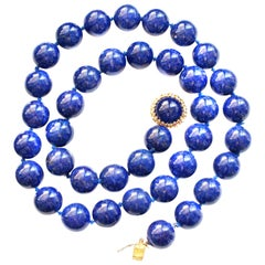 Royal Blue Natural Lapis Lazuli Bead Necklace
