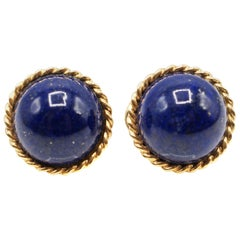Royal Blue Lapis Lazuli Gold Ear Clips