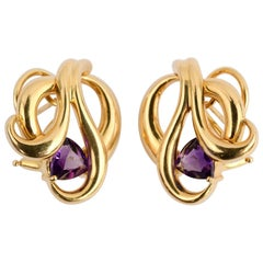 Gold Swirl Earrings with Amethyst