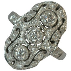 Solid 18 Carat White Gold and 0.95 Carat Diamond Panel Cluster Ring