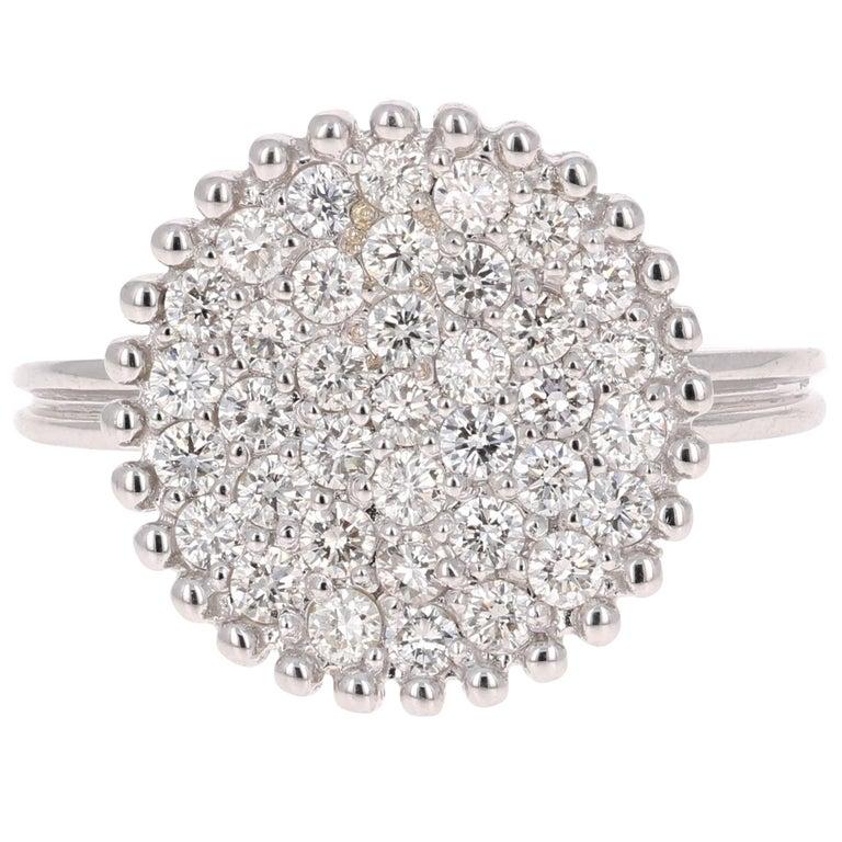 0.94 Carat Diamond Cocktail Ring 14 Karat White Gold
