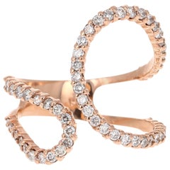 0.92 Carat Diamond Cocktail Ring 14 Karat Rose Gold