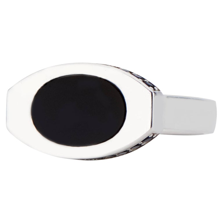 Sterling Silver and Black Onyx Oblong Signet Ring
