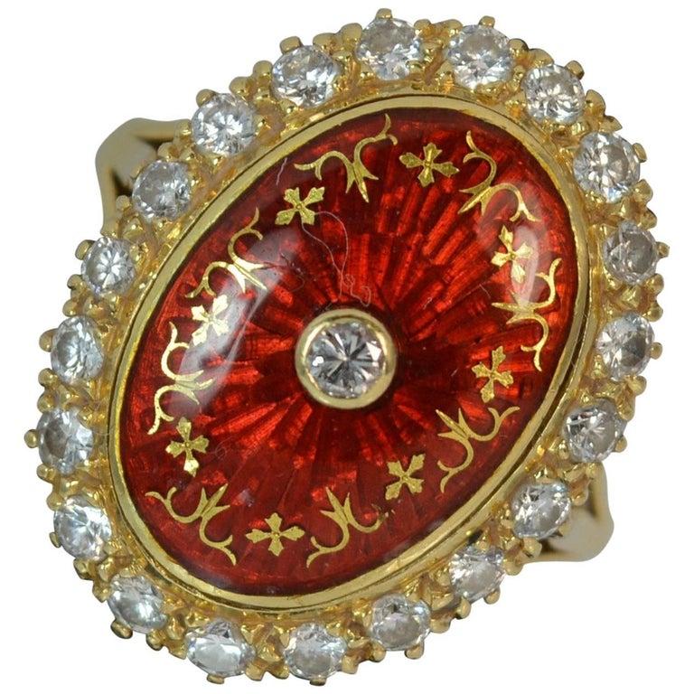 18 Carat Gold Enamel and Diamond Cluster Ring