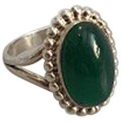 Georg Jensen Silver Ring No 9 with Green Agate