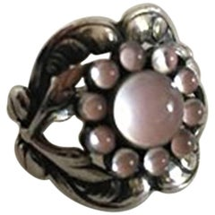 Georg Jensen Sterling Silver Ring No 10 with Rose Quartz