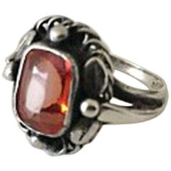 Georg Jensen Sterling Silver Ring with Orange Synthetic Sapphire No 10