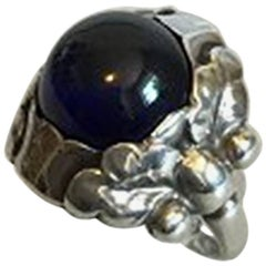Georg Jensen Sterling Silver Ring with Blue Stone No 11A