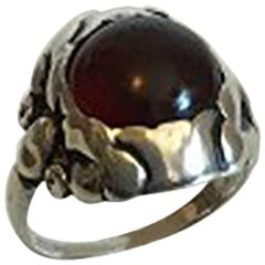Georg Jensen Sterling Silver Ring with Amber colored Stone No 11A