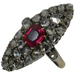 Victorian 18 Carat Gold Ruby and Rose Cut Diamond Navette Cluster Ring