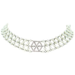 Garland Edwardian Style Diamonds Pearls Necklace