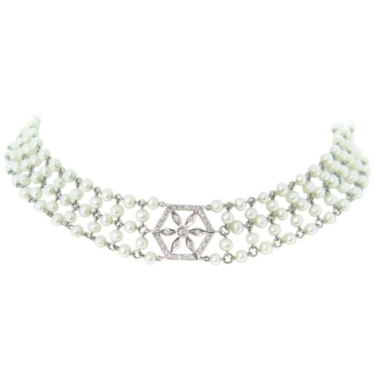 Garland Edwardian Style Diamonds Pearls Necklace