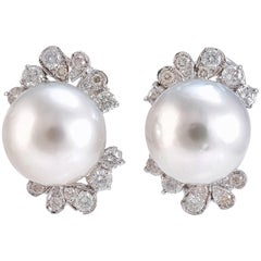 Diamonds Pearls White Gold Earrings
