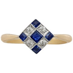 Antique and Contemporary Sapphire and Diamond Yellow Gold Cocktail Ring