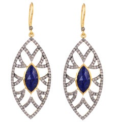 Meghna Jewels Bora Bora Marquise Earrings Lapis and Diamonds