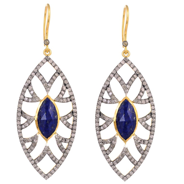 Marquise Earrings Lapis and Diamonds
