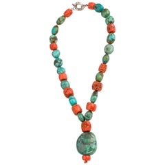 Tibetan Pendant Necklace Including Antique Turquoise and Natural Red Coral