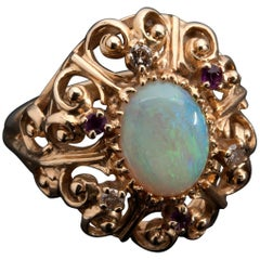 Victorian Style Opal Diamond and Ruby Gold Ring, USA, Mid-20th Century