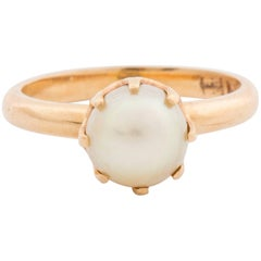 Retro Gold Ring with Cultured Peal
