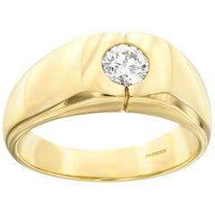 0.50 Carat Round White Diamond 18 KT Yellow Gold Tresor Paris Men's Signet Ring