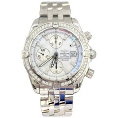 Breitling Stainless Mother-of-Pearl Diamond Evolution Chronometre Wristwatch