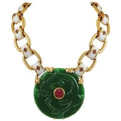 David Webb Ruby, Nephrite Gold Necklace