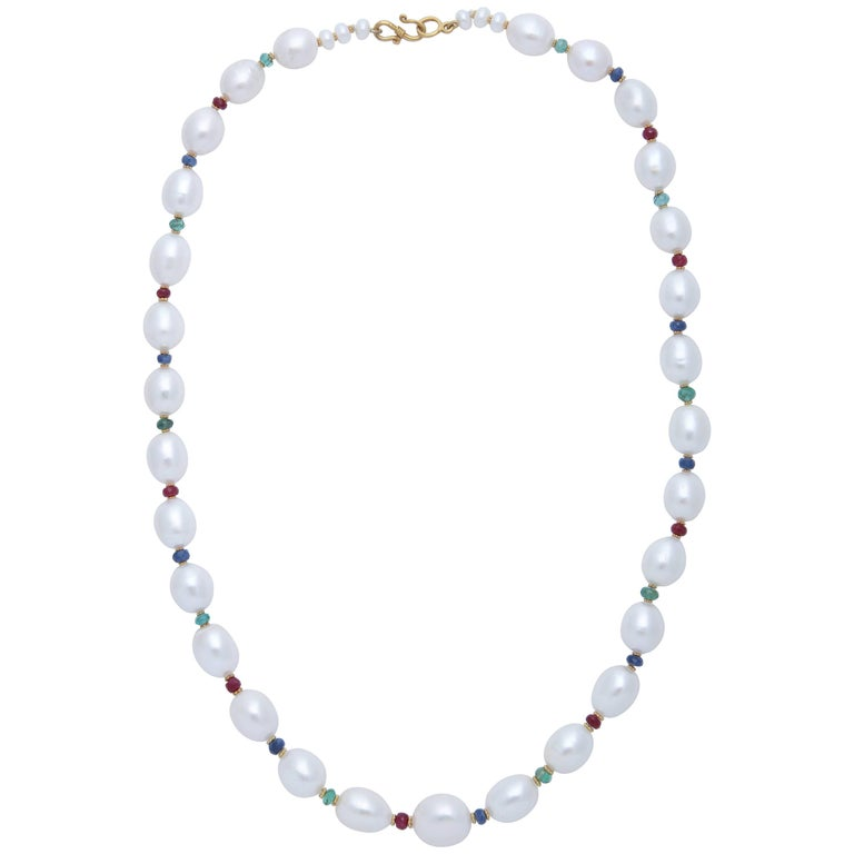 Pearls and Precious Stone Bead Necklace