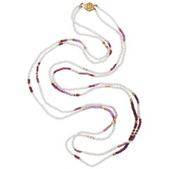 Ruby Bead and Fresh Water Pearl Long Necklace