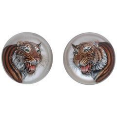 Large Tiger Reverse Painted Crystals
