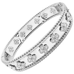 Van Cleef & Arpels Perlée Diamond Clover White Gold Bangle Bracelet