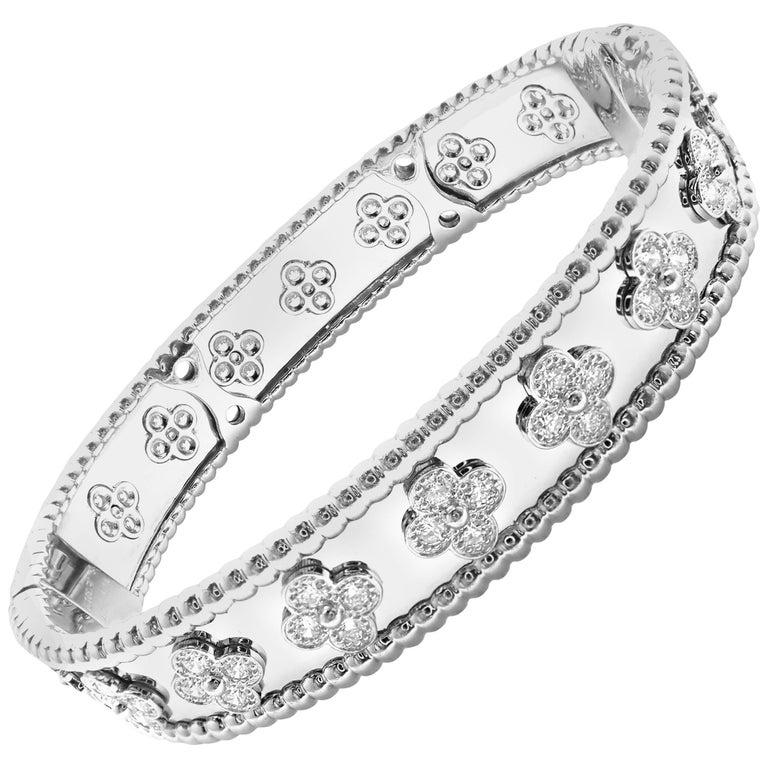 Van Cleef & Arpels Perlée Diamond Clover White Gold Bangle Bracelet