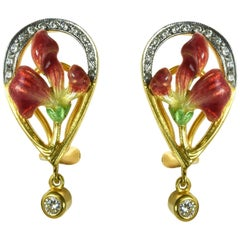 Enamel and Diamond Earrings by Masriera
