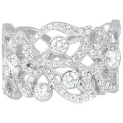 Modern 18 Karat White Gold, 1.36 Carat Diamond Carelle Florette Band Ring