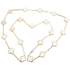 Van Cleef & Arpels 20 Motif Mother-of-Pearl Vintage Alhambra Gold Necklace