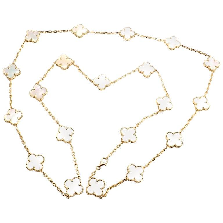 Van Cleef & Arpels 20 Motif Mother-of-Pearl Vintage Alhambra Gold Necklace